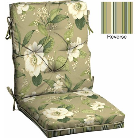 Better homes and gardens outdoor tufted dining chair cushion allie tan floral for Better homes and gardens patio furniture cushions