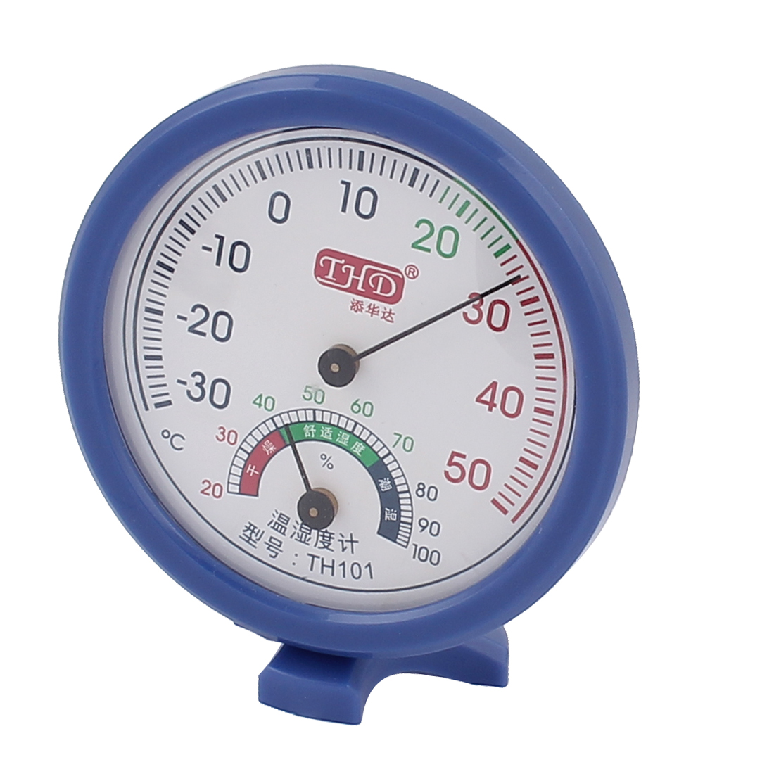 Unique Bargains Home Indoor Measure White Blue Plastic Housing Mini Thermometer Hygrometer by