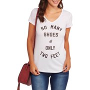 Women's So Many Shoes Vneck Graphic T-Shirt