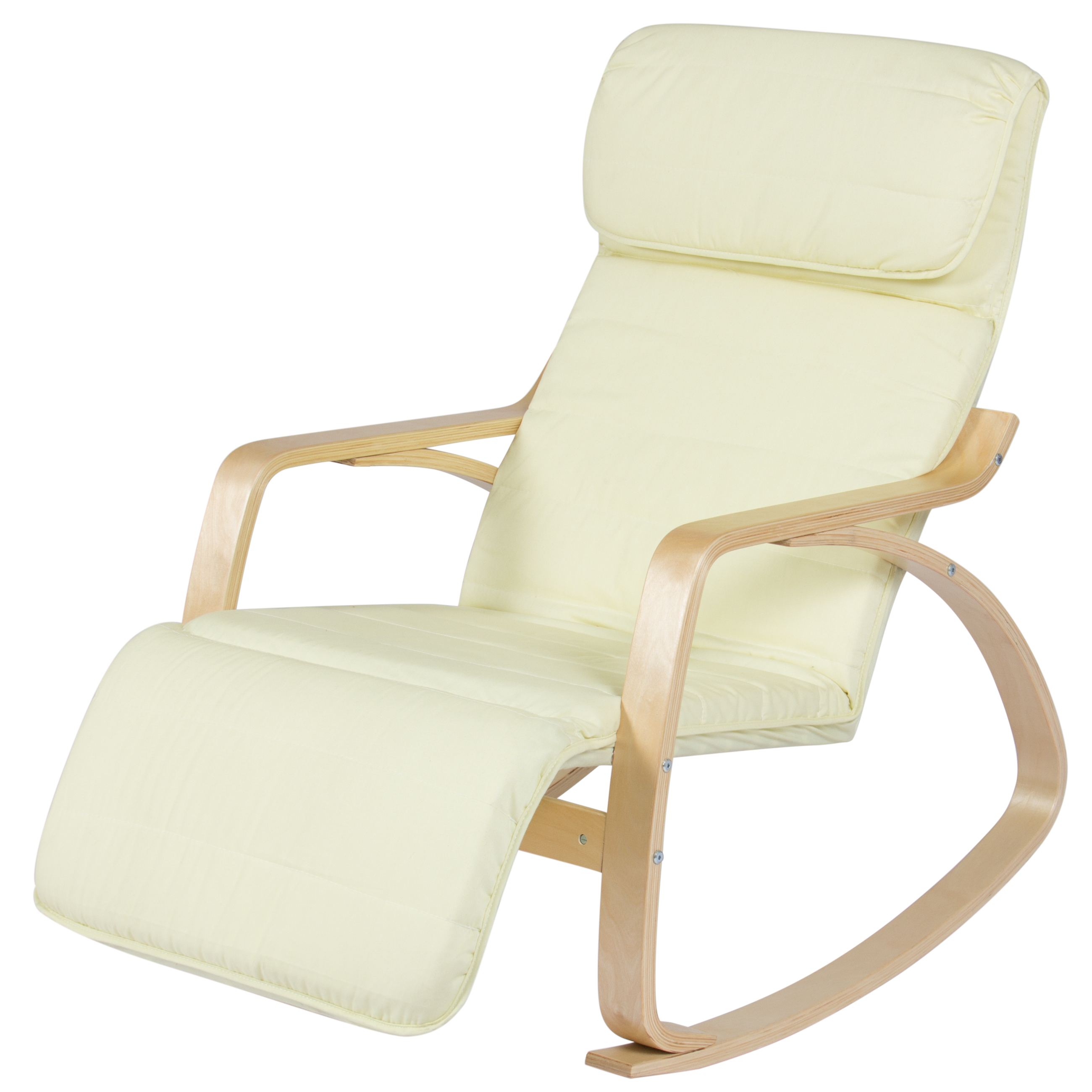 Best Choice Products Birch Bentwood Cushioned Rocking Chair W/ Adjustable  Leg Rest (Cream)