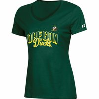 Women's Russell Athletic Green Oregon Ducks Arch V-Neck T-Shirt