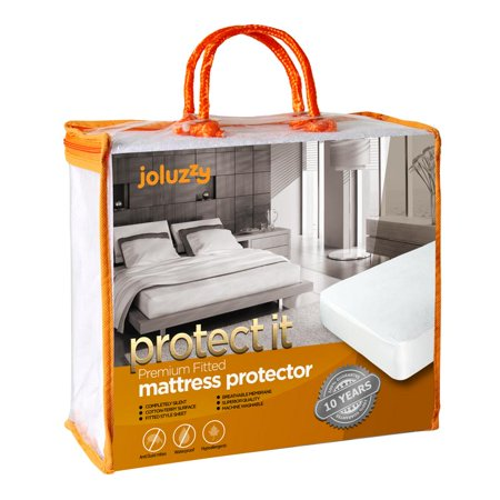 joluzzy Waterproof Mattress Protector - Cotton Terry Surface - Breathable - Noiseless - Hypoallergenic - Vinyl-Free - Fitted Sheet Mattress Cover, King Size ()
