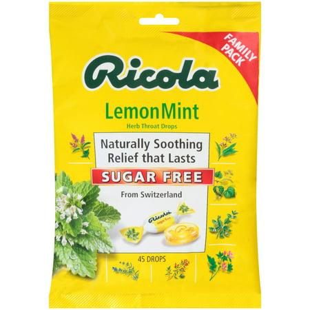 Ricola Sugar Free Herb Throat Drops, Lemon Mint, 45 Ct