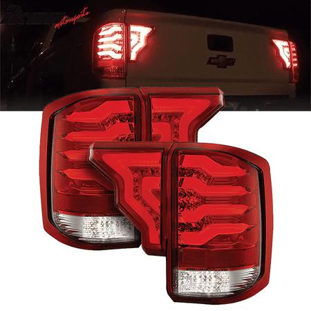 Fits 14-19 Silverado 1500 2500 3500 HD LED Tail Lights Red Lens Chrome  Housing