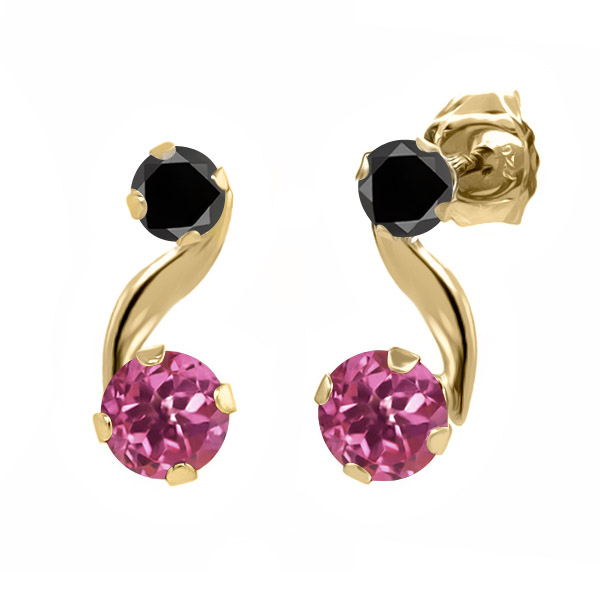0.72 Ct Round Pink Tourmaline Black Diamond 14K Yellow Gold Earrings by