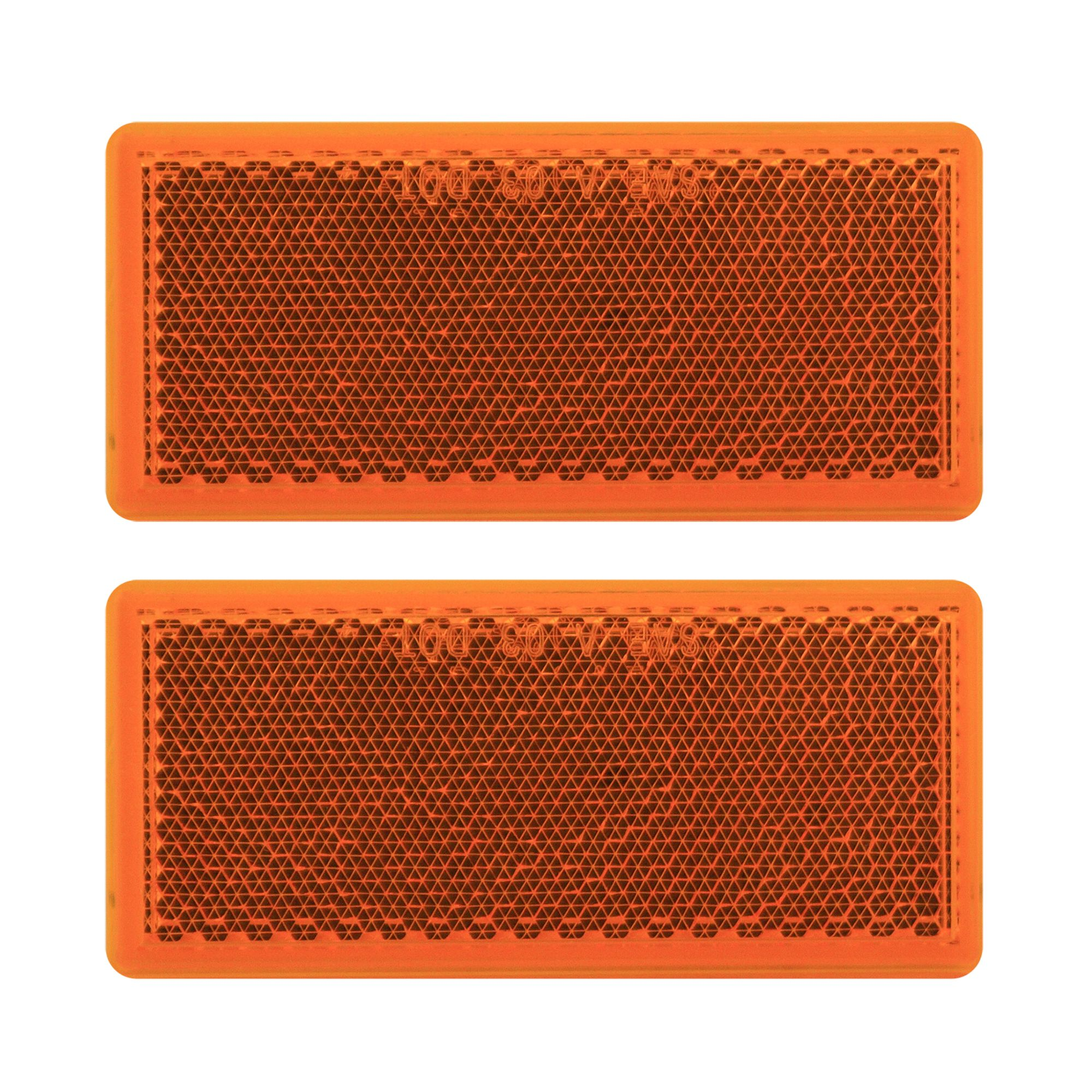 Pilot Automotive NV-5040A 2 Piece Rectangular Stick-On Side Marker / Reflector- Amber Size: 3-7/32 x 1-7/16 x 3/16
