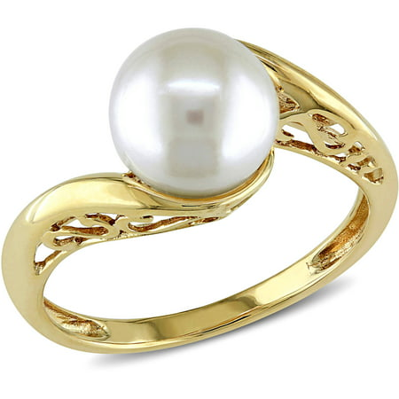 8mm-8.5mm White Round Cultured Freshwater Pearl 10kt Yellow Gold Bypass Ring ()