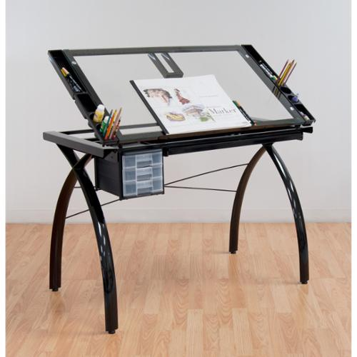 studio designs futura black with clear glass drafting table