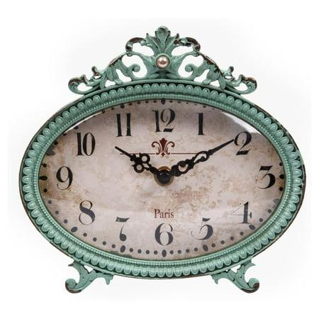 3R Studios 6.5 in. Aqua Pewter Mantel Clock (Best Mantel Clock Brand)