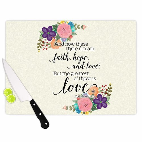 East Urban Home Noonday Design Glass 'Faith Hope and Love' Cutting Board
