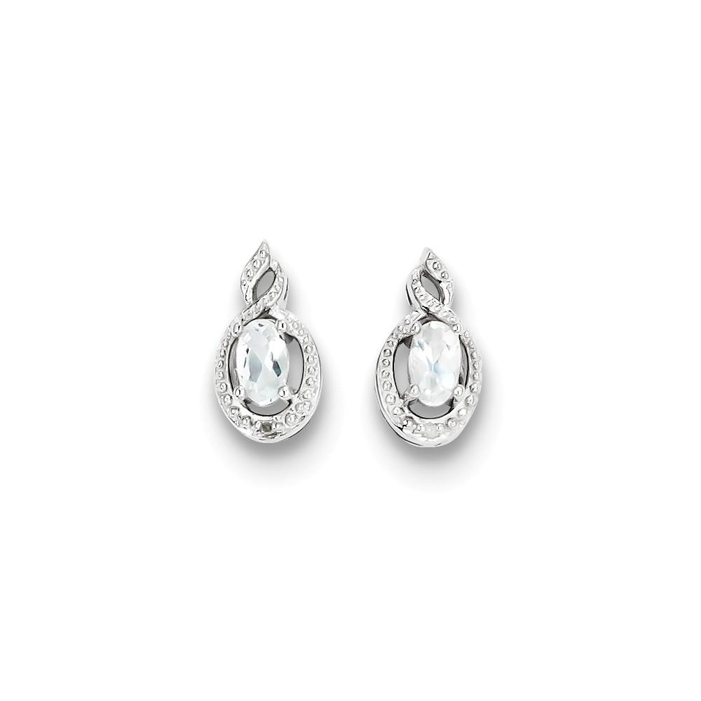 Sterling Silver 0.5IN Long White Topaz & Diamond Earrings