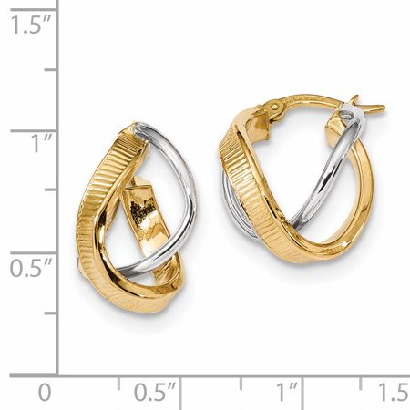 14k Yellow and White Gold Two-tone Polished/Line Texture Twisted Double Hoop Earrings Length 19.98mm - image 1 de 2