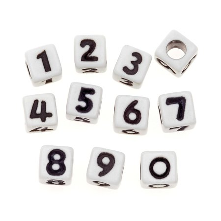 (6mm Alphabet Beads: White Cube Beads with Asst Black Numbers)