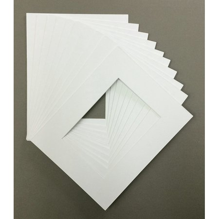 Pack of 10 18x24 White Picture Mats Mattes Matting with White Core Bevel Cut for 12x18 Pictures