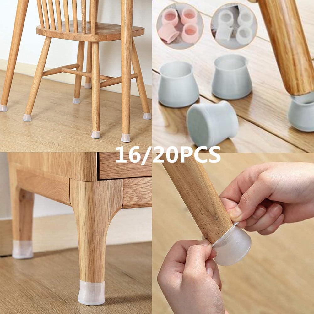 20pcs Black Silicone Chair Feet Cover Floor Protector Table Feet Leg Cap End /_F
