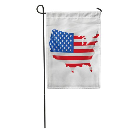 SIDONKU Border USA Flag in Form of Map United States America National Celebration Closeup Garden Flag Decorative Flag House Banner 28x40