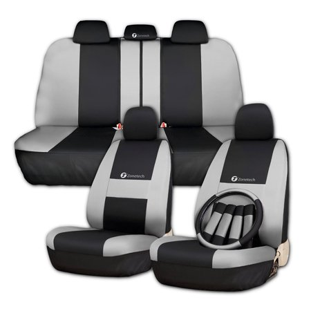 (Zone Tech Universal Fit Waterproof Breathable Full Set of Gray and Black Seat Covers  Slip On Steering Wheel Covers  4 Comfy Seat Belt Covers Safety Protectors Set)