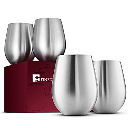 Premium Grade 18/8 Stainless Steel Wine Glass (Set of 4) Large & Elegant Stemless Cups, Unbreakable, Impact Resistant, Portable Wine Glasses, for Daily & Outdoor Parties, Picnic Events, 18 oz ()