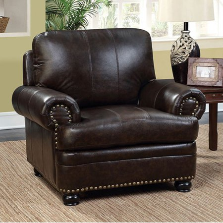 Top Grain Leather Chair (Transitional Top Grain Leather Chair, Dark)