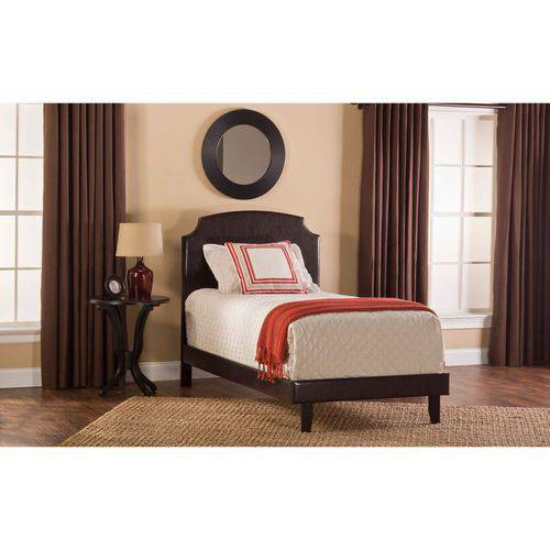 Lawler Twin Bed, Brown Faux Leather