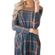 Women Round Neck Long Sleeve Colorblock Plaid Spliced A-Line Dress