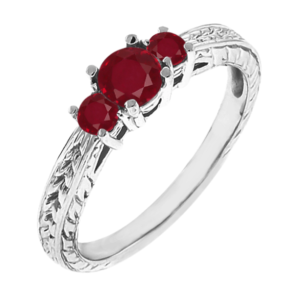 0.58 Ct Round Red SI1/SI2 Ruby 14K White Gold 3-Stone Ring