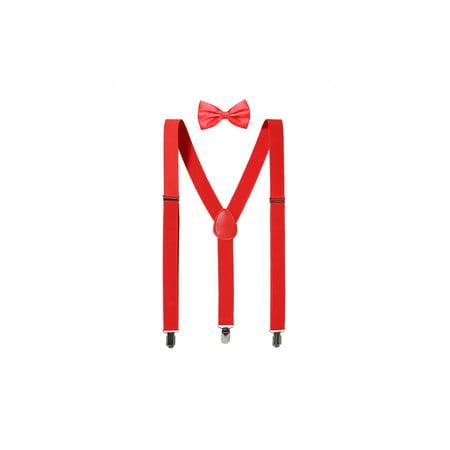 Unisex Bow Tie Set Y Shape Adjustable Elastic Shoulder Strap Suspenders
