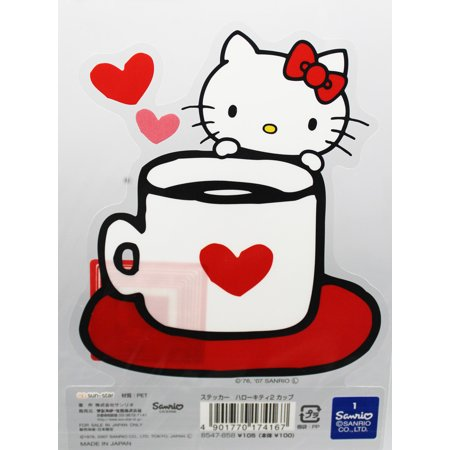 Hello Kitty Cups (Hello Kitty Coffee Cup With a Heart Decorative Sticker)