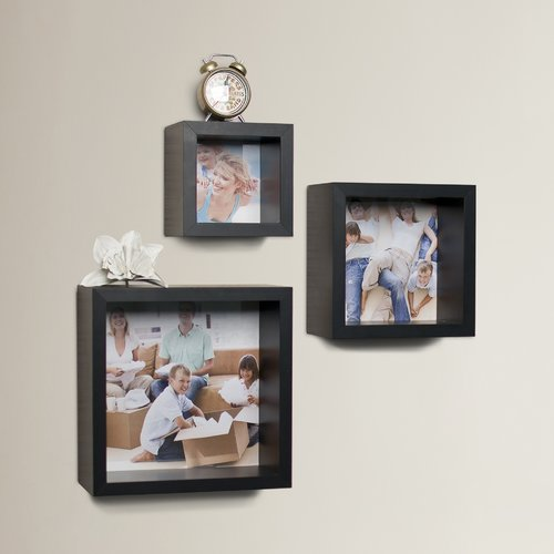 Brayden Studio Bermondsey 3 Piece Photo Frame Wall Cube Shelf Set