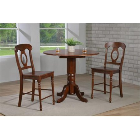 Sunset Trading DLU-ADW4242CB-B50-CT3PC Andrews 42 in. Round Drop Leaf Pub Table Set with Napoleon Stools - 3