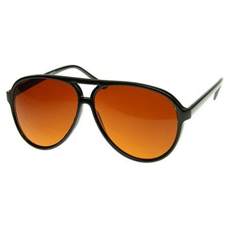Cp Retro 80s Vintage Blue Blocking XL Large Black Plastic Aviator Sunglasses (80s Vintage Sunglasses)