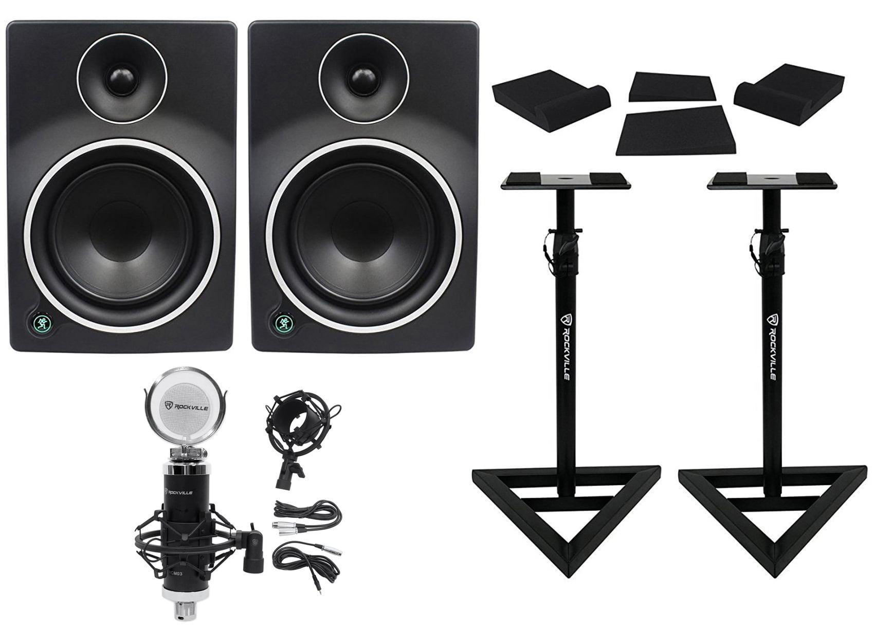 "(2) Mackie MR6mk3 6.5"" Powered Studio Monitors+Condenser Microphone+Stands+Pads by Mackie"