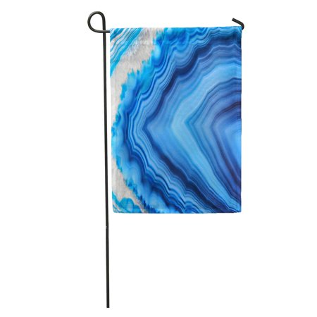 SIDONKU Amazing Blue Agate Crystal Cross Section Natural Translucent Abstract Structure Garden Flag Decorative Flag House Banner 12x18 -