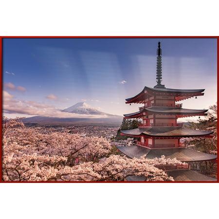 Mount Fuji, Japan - Framed Nature Poster / Print (Spring Blossoms) (Size: 36
