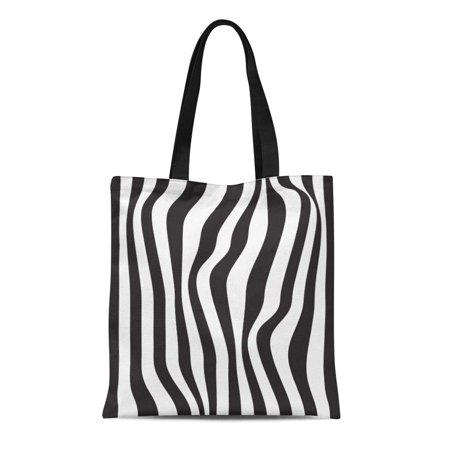 ASHLEIGH Canvas Tote Bag Skin Striped Abstract Black and White Zebra Pattern Reusable Shoulder Grocery Shopping Bags Handbag