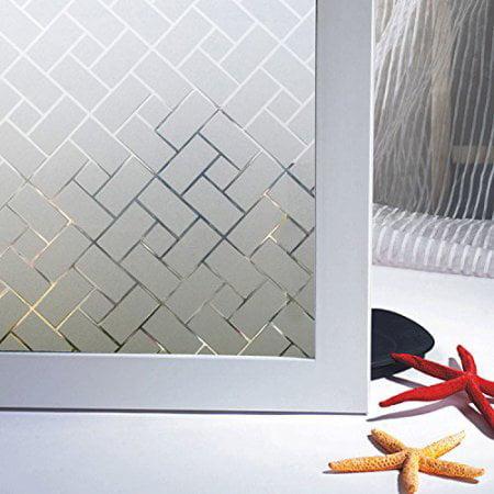 Wendana Adhesive 3d Privacy Waterproof Pvc Frosted Bathroom Window Film Decoration Sticker Glass For Home Bedroom Window Film For Bathroom Door 18x80 Inches 45 X 200cm Walmart Com Walmart Com