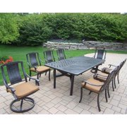 Oakland Living Corporation 9 pc Dining Set, with Table, 6 Chairs, 2 Swivel Rockers and Cushions