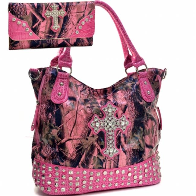 Ritz Enterprises CRL662SET-PK Western Camouflage Cross Accent Rhinstone Bling Purse With Matching Wallet - Pink