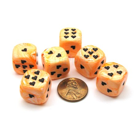Chessex Pack of 6 Heart 'Ice Cream' 16mm D6 Dice - Orange with Black Hearts #XM0613