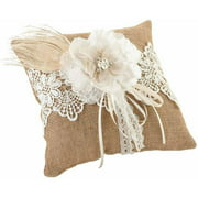 Lillian Rose Burlap and Lace Ring Bearer Pillow