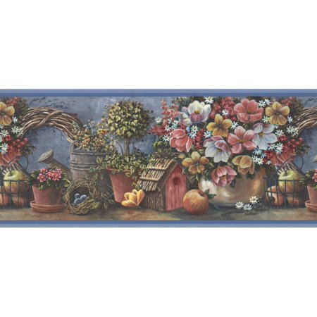 Pink Yellow White Flowers Fruits Birdhouse Extra Wide Wallpaper Border Retro Design, Roll 15' x 10.5'' - image 2 of 3