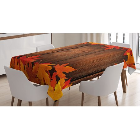 Fall Decor Tablecloth, Dry Leaves Poured Onto Wooden Board Cabin Cottage Rustic Country House, Rectangular Table Cover for Dining Room Kitchen, 60 X 90 Inches, Scarlet Brown Orange, by Ambesonne