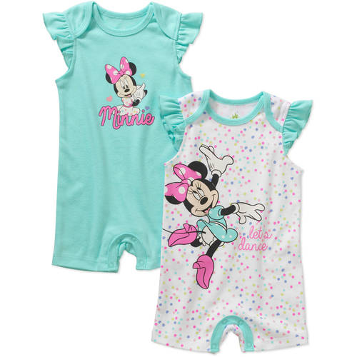 Minnie Mouse Newborn Baby Girl Rompers, 2-Pack
