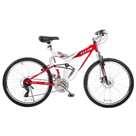 TITAN Fusion Dual Suspension Mountain Bicycle, 21-Speeds, Red and (21 Fusion)