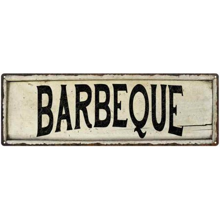 BARBEQUE Farmhouse Style Wood Look Sign Gift 6x18 Metal Decor 206180028087