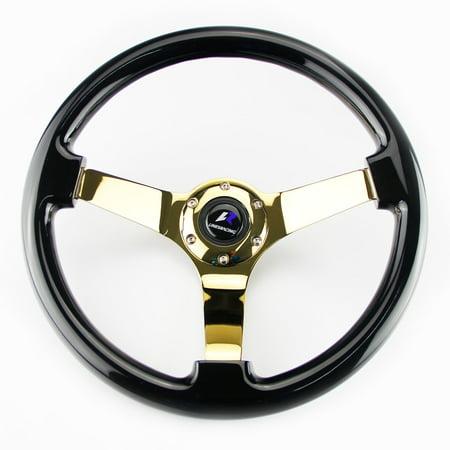 "350MM 14"" Classic Style Wooden Wood Grain 3"" Deep Dish Chrome Spoke Steering Wheel Gold Chrome / Black"