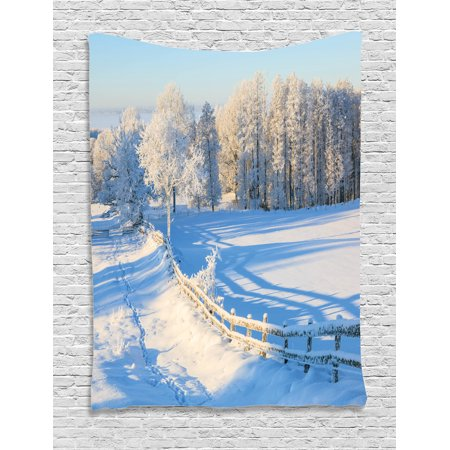 Valley Oak Decor Kit - Farmland Tapestry, Winter Snow Valley with Oak Borders Pines Frozen Pastoral High Cold Lands Art, Wall Hanging for Bedroom Living Room Dorm Decor, White Blue, by Ambesonne