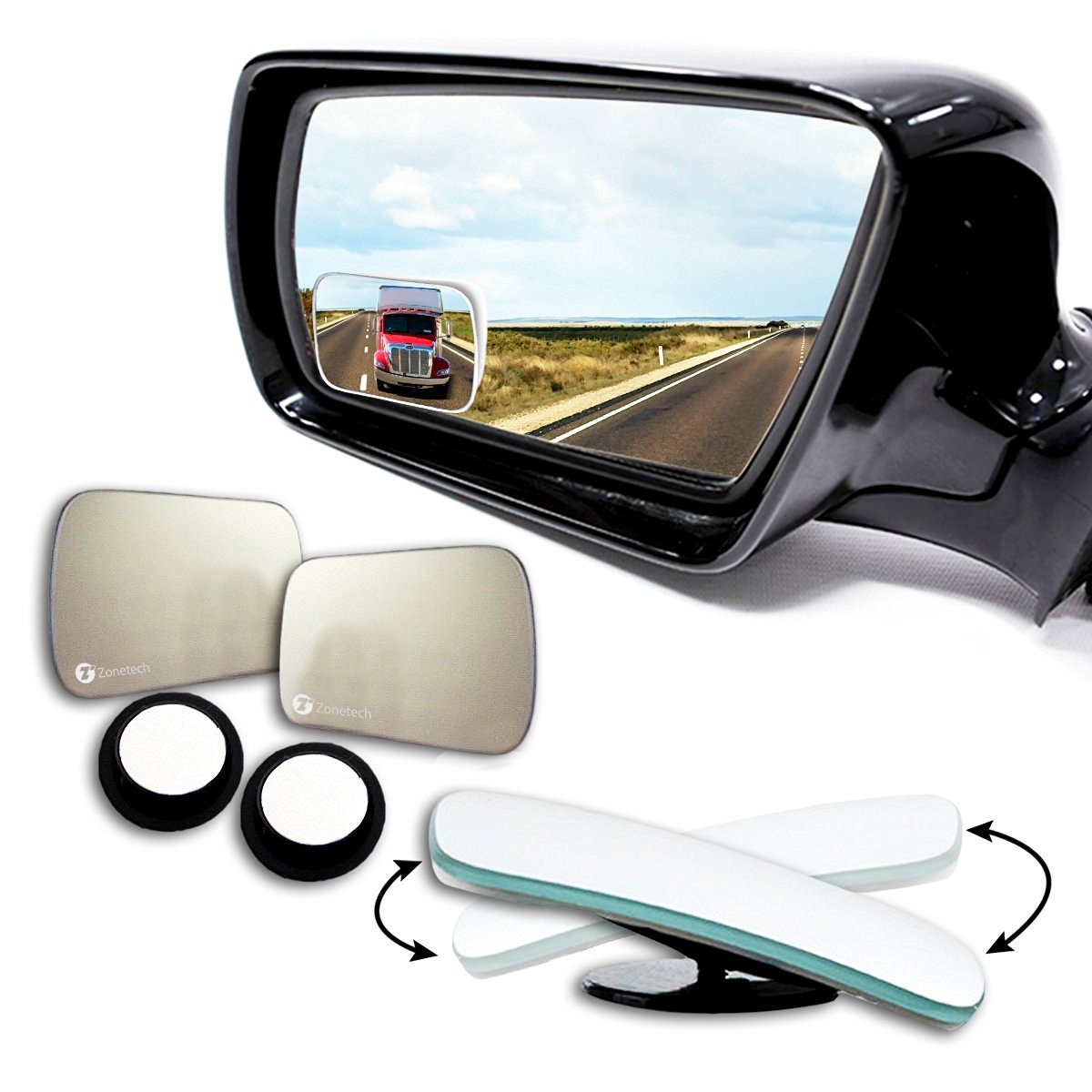 Zone Tech Blind Spot Adjustable Square Mirrors - 2-Pack Square Blind Spot Mirror Adjustable Stick-On Exterior Side Mirror for All Cars Motorcycles Trucks Snowmobiles - image 5 of 5