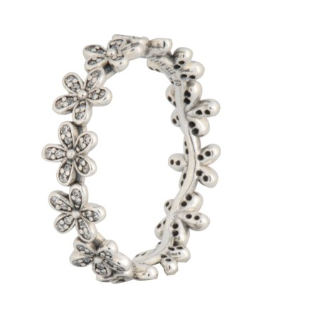 Authentic Dazzling Daisy Chain Ring In 925 Sterling Silver W/clear Cubic Zircon