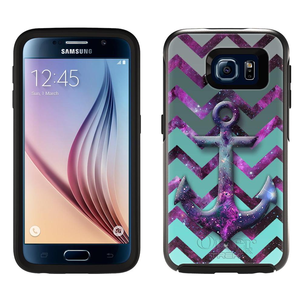 OtterBox Symmetry Samsung Galaxy S6 Case - Anchor on Chevron Grey Green Turquoise on Nebula OtterBox Case